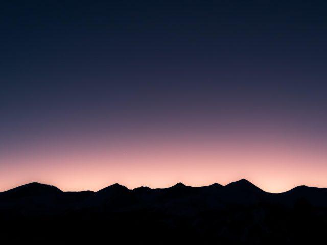 Mountainous skyline at dusk