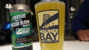 A glass and can of beer from Maumee Bay Brewery