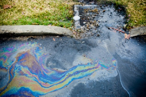 Water and oil mixing in stormdrain