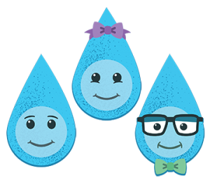 Water Drops: Trickle, Droplette and Professor Dew